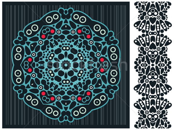 Decorative element and psychedelic seamless pattern.  Stock photo © ekapanova