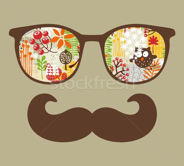 Retro óculos de sol reflexão óculos isolado Foto stock © ekapanova