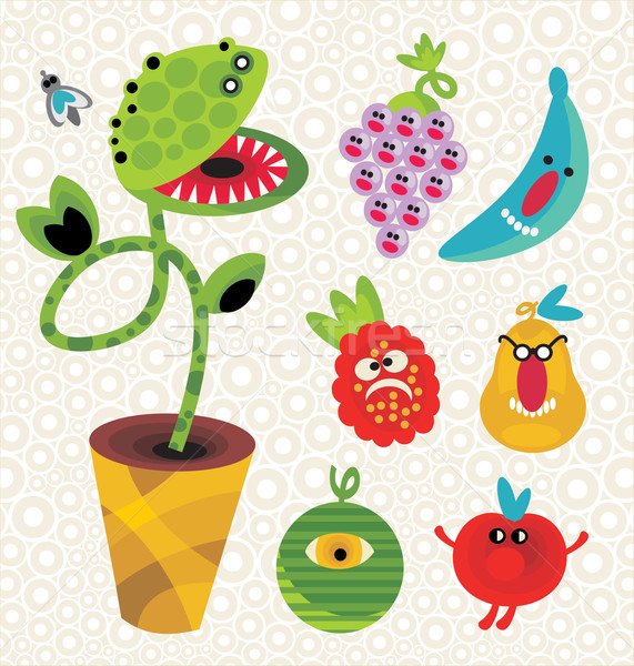 Stock photo: Set of cute plant monsters.