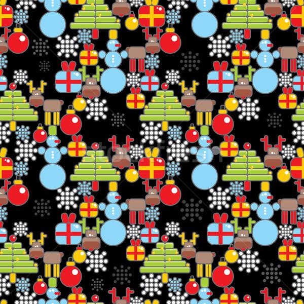 Seamless Christmas pattern in cell. Stock photo © ekapanova