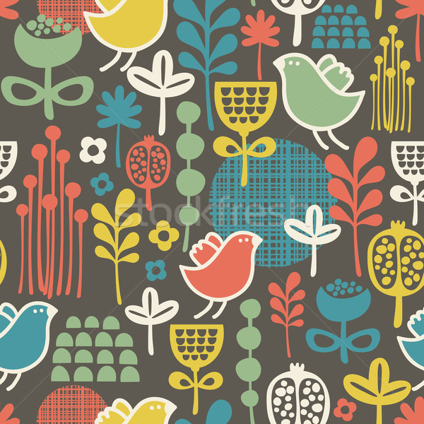 Stock photo: Beautiful seamless pattern with cute birds.