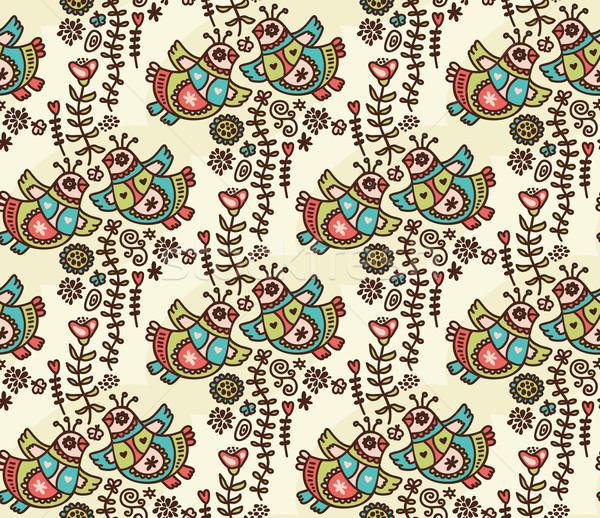 Seamless pattern with folk birds, hearts and flora. Stock photo © ekapanova