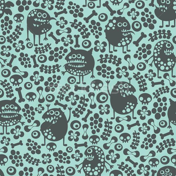 Cute monsters seamless texture on blue. Stock photo © ekapanova