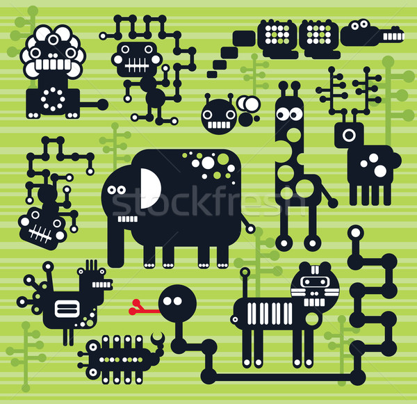 Robotok szörnyek gyűjtemény 13 Afrika állatok Stock fotó © ekapanova