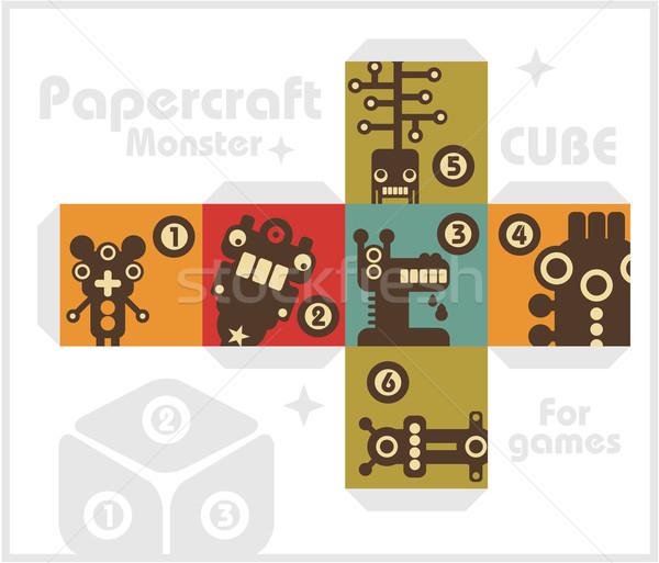 Papel cubo monstros tabela jogos vetor Foto stock © ekapanova