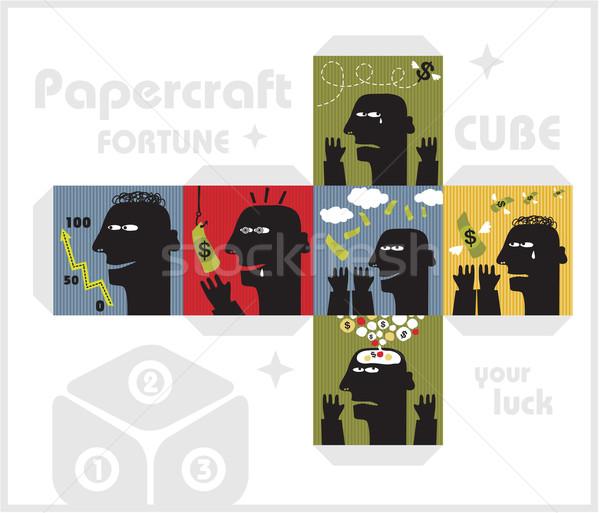 Stock fotó: Papír · kocka · szörnyek · szerencse · férfi · felirat