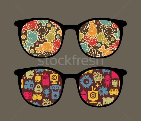 ретро очки странно отражение изолированный Сток-фото © ekapanova
