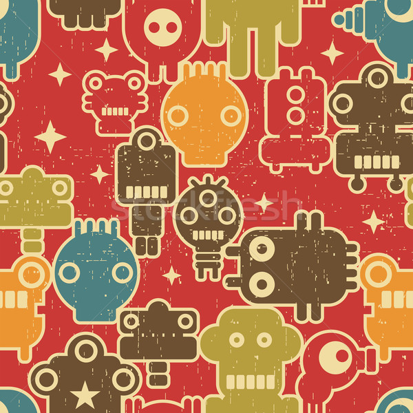 Robot and monsters modern seamless pattern on red. Stock photo © ekapanova