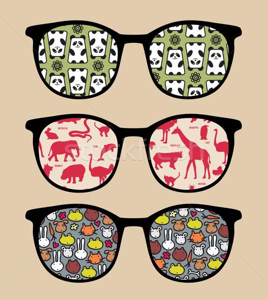 Retro sunglasses with reflection. Stock photo © ekapanova