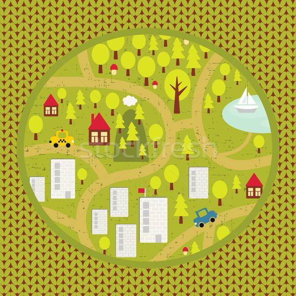 Cartoon map pattern of small town and countryside. Stock photo © ekapanova
