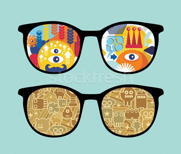 Retro occhiali da sole robot riflessione isolato Foto d'archivio © ekapanova