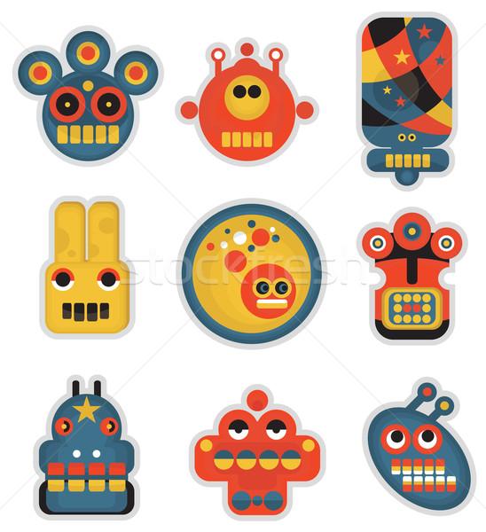 Desen animat roboti set monsters fete culoare Imagine de stoc © ekapanova