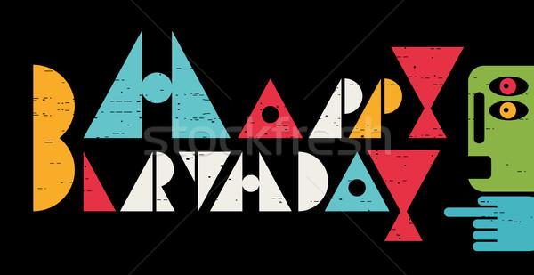 Boldog születésnapot felirat kártya hideg levelek vektor Stock fotó © ekapanova