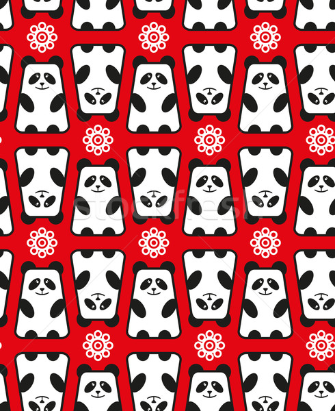 Stock photo: Seamless pattern with panda and flowers.