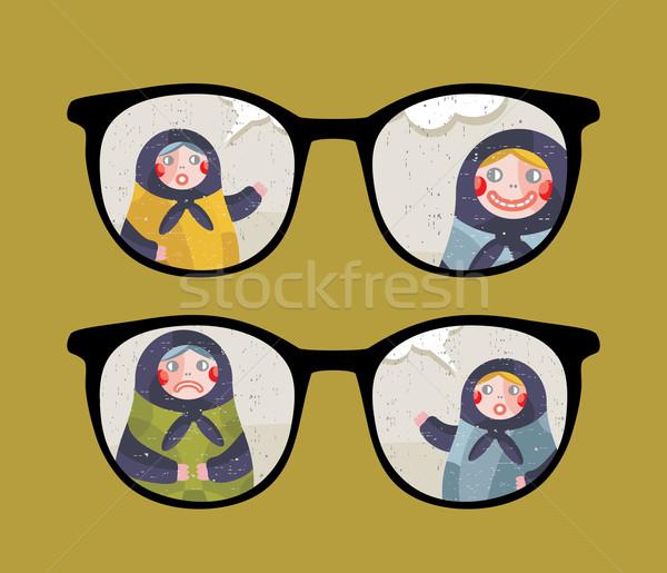 ретро очки говорить кукол отражение изолированный Сток-фото © ekapanova
