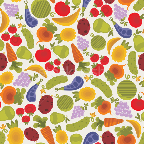 Seamless pattern with fruits and vegetables. Stock photo © ekapanova