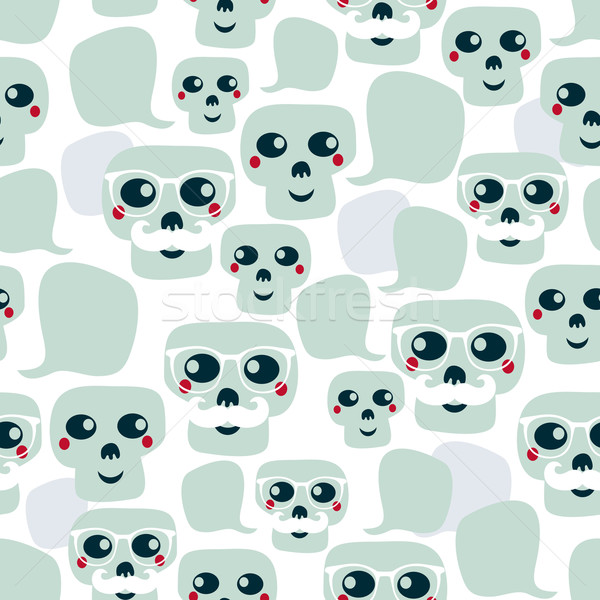Stock photo: Seamless pattern with funny skulls.