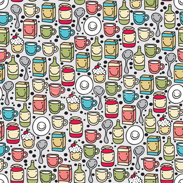 Dishes and food seamless pattern.  Stock photo © ekapanova