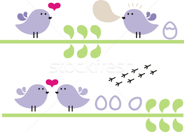 Piccolo uccelli flora uova wedding amore Foto d'archivio © ekapanova