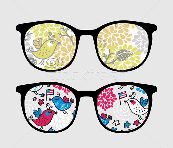 Retro sunglasses with patriotic birds reflection. Stock photo © ekapanova