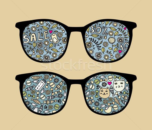 Retro sunglasses with birds reflection in it. Stock photo © ekapanova