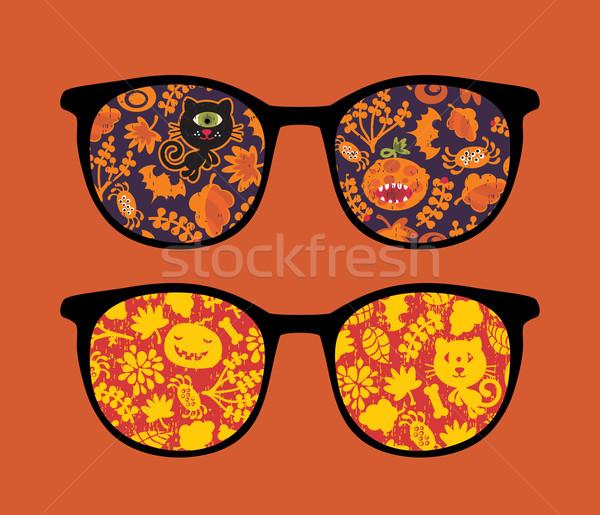 Foto d'archivio: Retro · occhiali · da · sole · zucche · riflessione · isolato