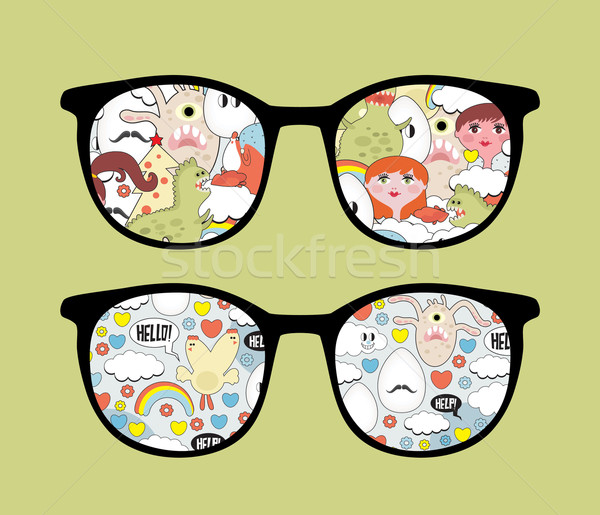 Retro bril wanorde reflectie geïsoleerd zonnebril Stockfoto © ekapanova