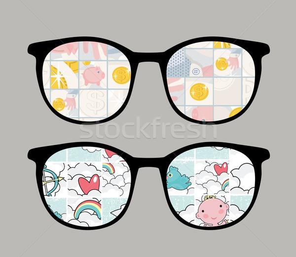 Retro sunglasses with tender reflection in it. Stock photo © ekapanova