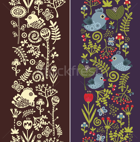 Two seamless vertical patterns with bird, leaves and flowers.  Stock photo © ekapanova