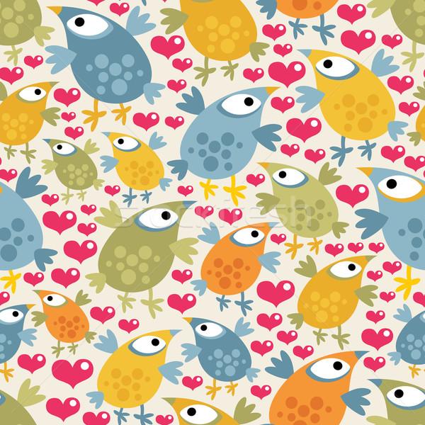 Foto stock: Bonitinho · aves · corações · vetor · textura