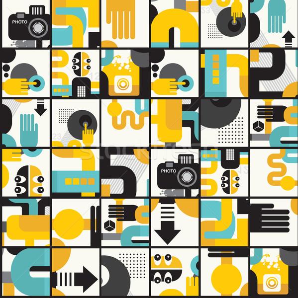 Abstract mostri pattern stile retrò fiore texture Foto d'archivio © ekapanova