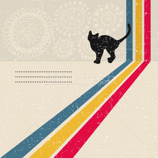 Estilo retro gato preto silhueta flor gato projeto Foto stock © ekapanova