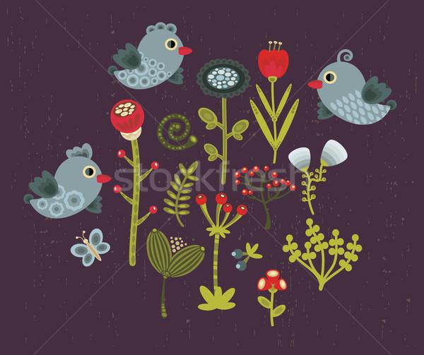 Uccelli fiori icone primavera natura bellezza Foto d'archivio © ekapanova