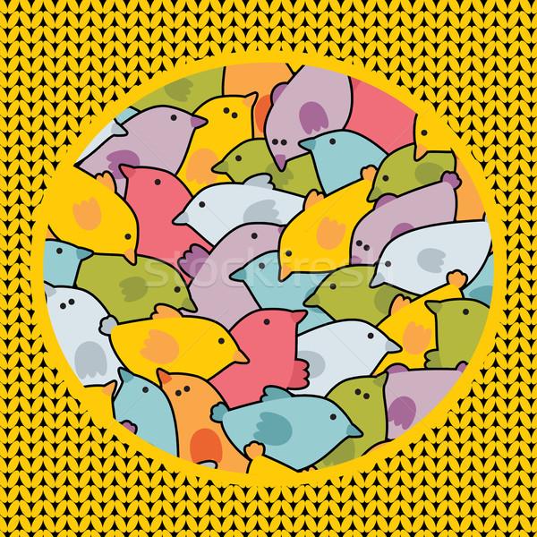 Zűrzavar aranyos madarak vektor textúra művészet Stock fotó © ekapanova