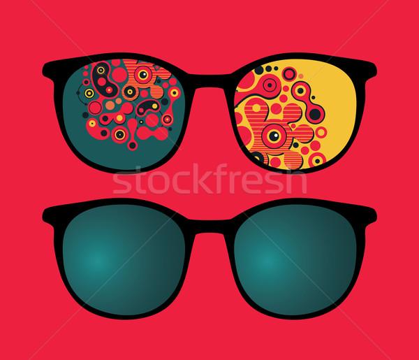 Retro eyeglasses with psychedelic reflection in it.  Stock photo © ekapanova