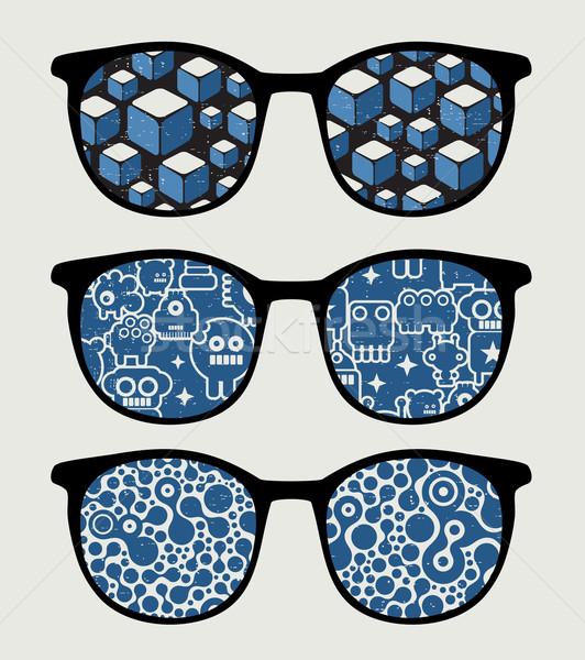Retro napszemüveg kék tükröződés szemüveg izolált Stock fotó © ekapanova