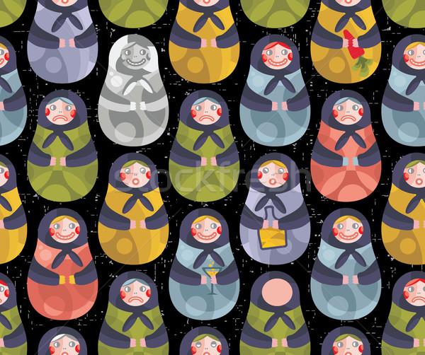 Matreshka russian doll seamless pattern. Stock photo © ekapanova