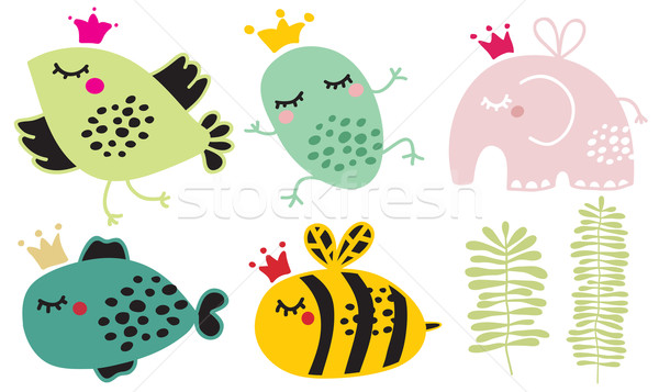 Stock photo: Cute animals in crown set.
