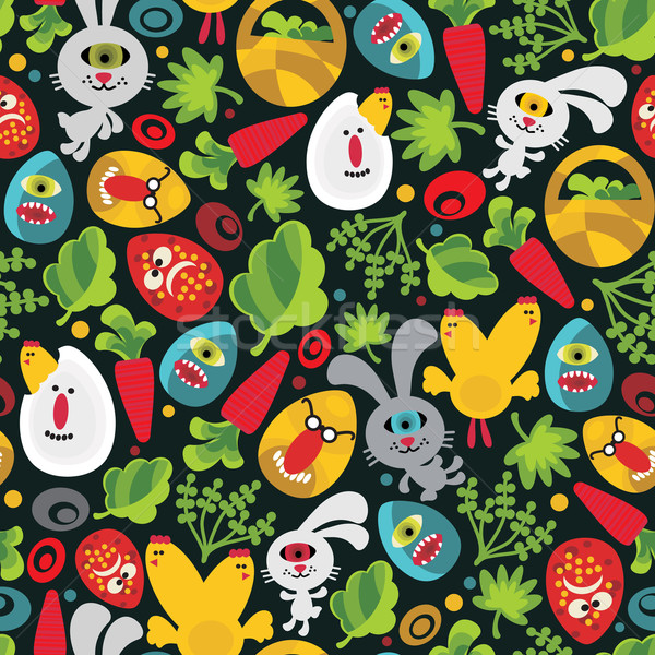 Stock photo: Seamless Easter background with monsters.