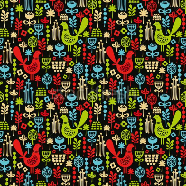 Stock photo: Beautiful seamless pattern with cute birds.