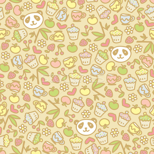 Cute panda seamless pattern. Stock photo © ekapanova