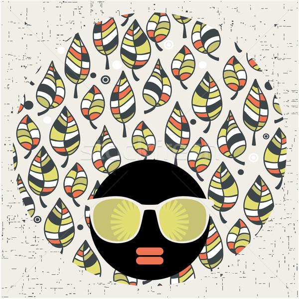 черный голову женщину странно шаблон волос Сток-фото © ekapanova