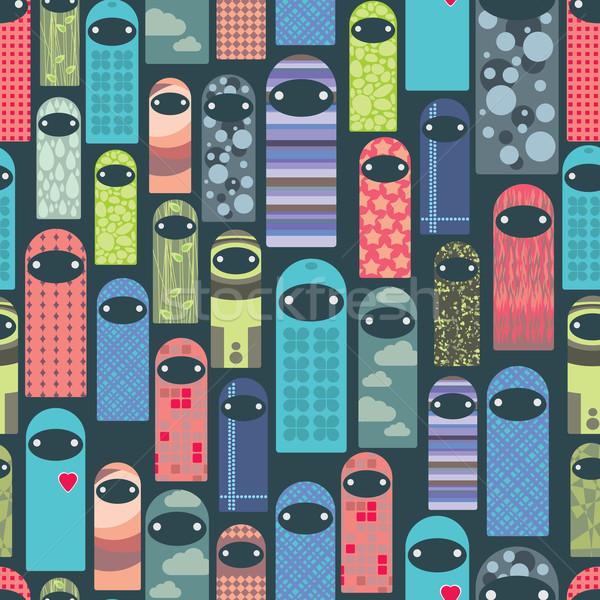 Seamless pattern with colorful ghosts. Stock photo © ekapanova