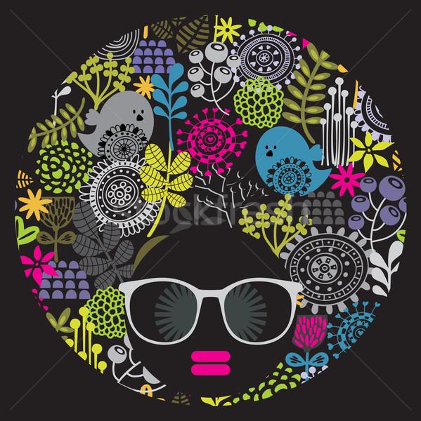 黒 頭 女性 奇妙な 髪 パターン ストックフォト © ekapanova