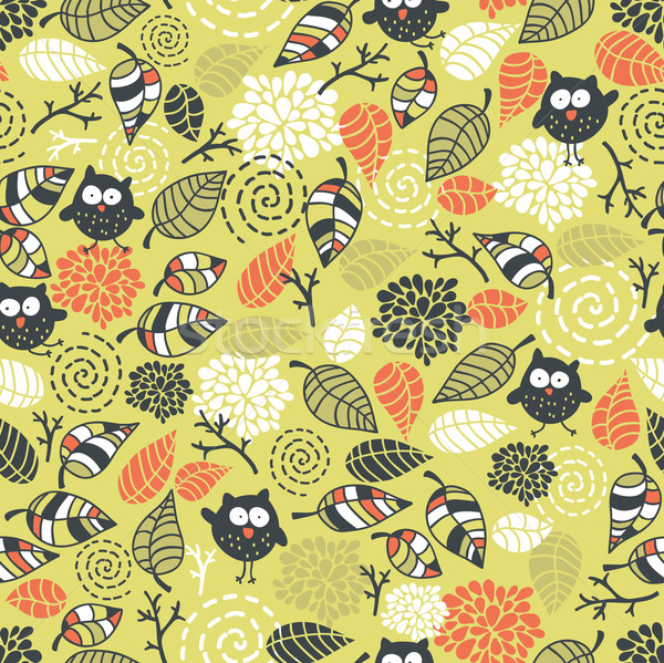 Seamless pattern with owls and floral elements. Stock photo © ekapanova