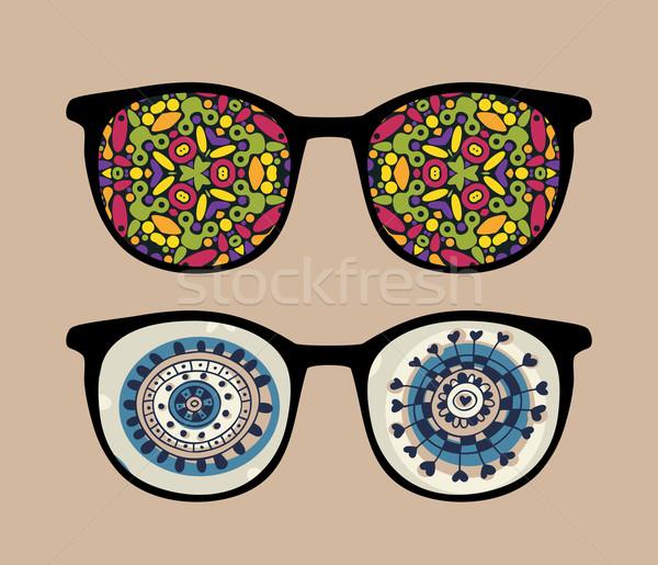 ретро Солнцезащитные очки странно отражение аннотация изолированный Сток-фото © ekapanova