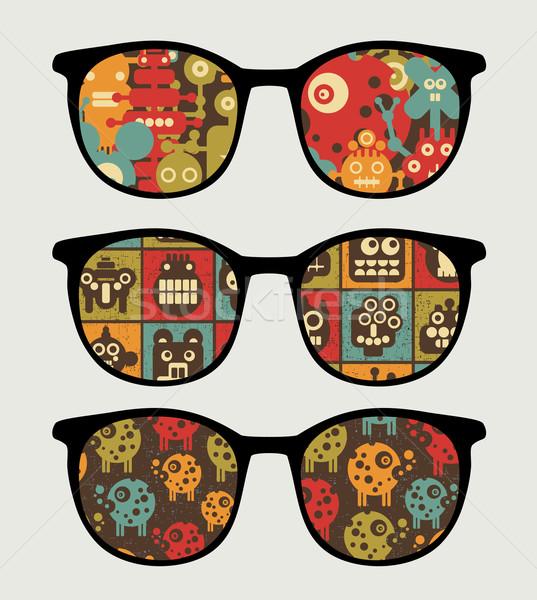 Retro napszemüveg robotok tükröződés szemüveg izolált Stock fotó © ekapanova