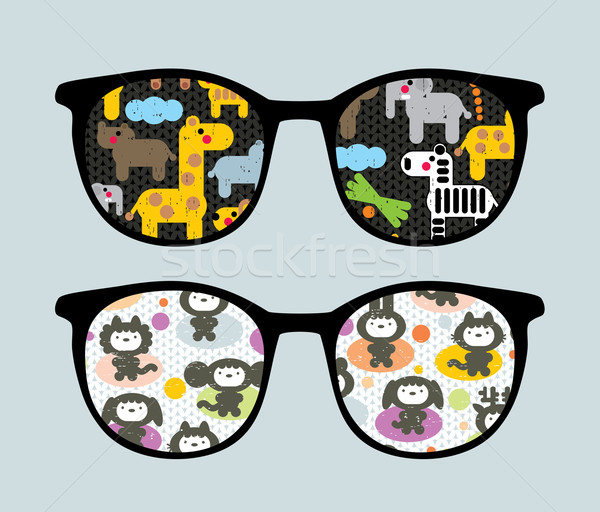 Retro sunglasses with cartoon animals reflection. Stock photo © ekapanova
