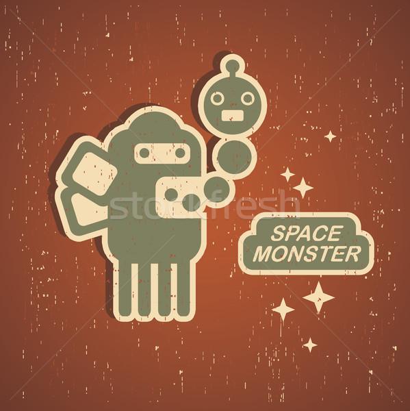 Vintage monster retro robot illustratie vector Stockfoto © ekapanova