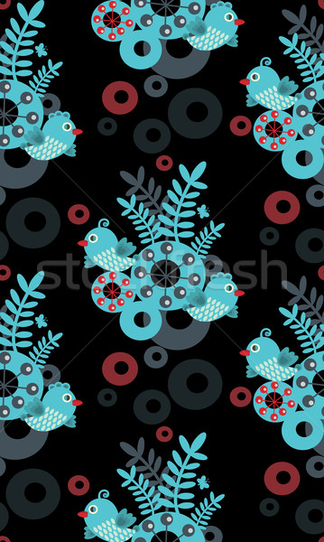 Stock photo: Colorful seamless pattern with birds, flowers and abstract forms.